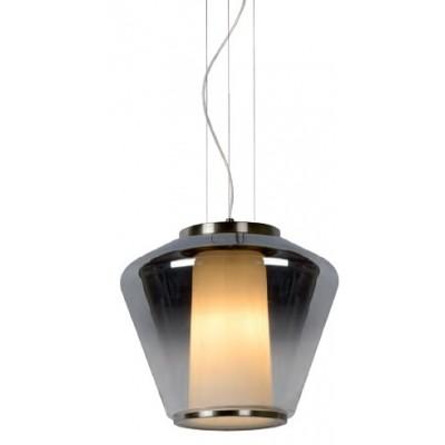 Κρεμαστό γυάλινο φωτιστικό Ø30cm με συνδυασμό φιμέ και λευκής opal καμπάνας