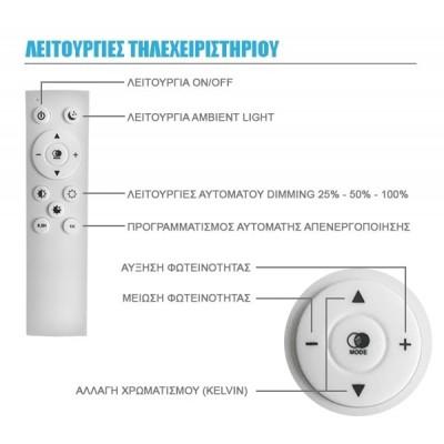 Λευκό κρεμαστό φωτιστικό LED με ασύρματο χειριστήριο για εναλλαγή χρωμάτων και ντιμάρισμα Φ45cm