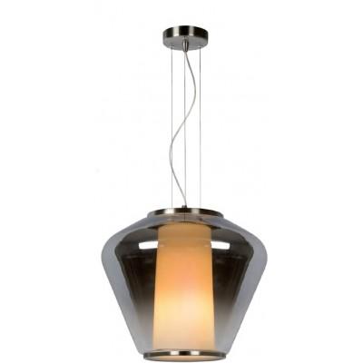 Κρεμαστό γυάλινο φωτιστικό Ø38cm με συνδυασμό φιμέ και λευκής opal καμπάνας