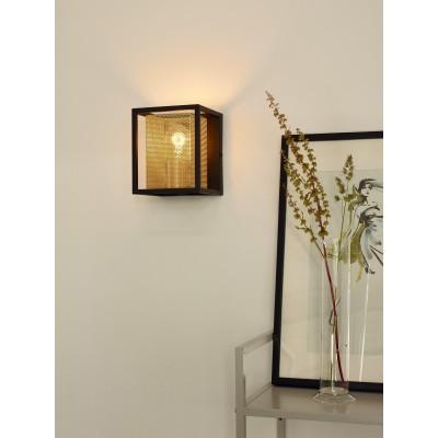 Απλίκα τοίχου 15x15cm με μεταλλικό πλαίσιο γύρω από χρυσό τρυπητό αμπαζούρ