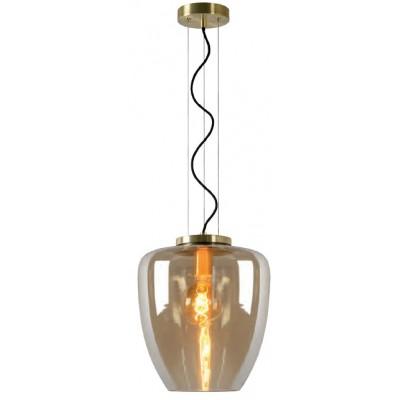 Κρεμαστό φωτιστικό Ø50cm με χρυσές λεπτομέριες και γυάλινη καμπάνα από κεχριμπάρι