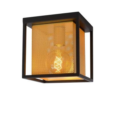Φωτιστικό οροφής 20x20cm με μεταλλικό πλαίσιο γύρω από χρυσό τρυπητό αμπαζούρ