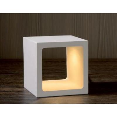 Λευκό πορτατίφ LED κύβος 10x10cm με On-Off αφής