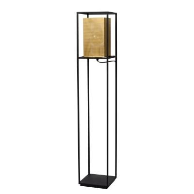 Φωτιστικό δαπέδου 122cm με μεταλλικό πλαίσιο γύρω από χρυσό τρυπητό αμπαζούρ 22x22cm