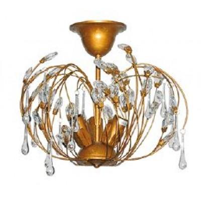 Χάλκινο-χρυσό τρίφωτο φωτιστικό Ø35cm με λουλουδάκια από γυαλί και κρυσταλλάκια