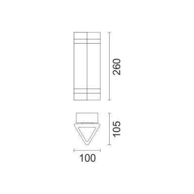 Τριγωνική απλίκα Up&Down δίφωτη GU10