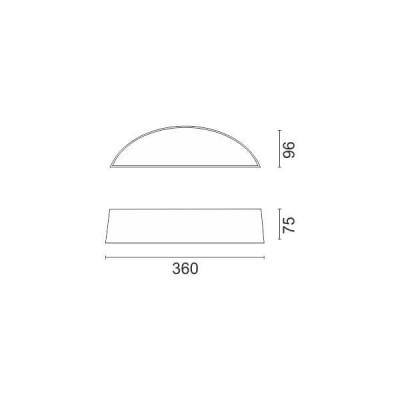 Στεγανή ημικυκλική απλίκα 36cm ασημί