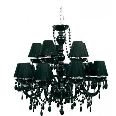 Δεκαπεντάφωτος μαύρος πολυέλαιος Ø87cm με καπέλα και κρυσταλλάκια σε μαύρο plexiglass