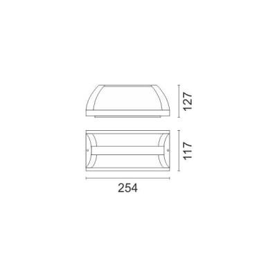 Στεγανή απλίκα αλουμινίου 25x12cm μονόφωτη