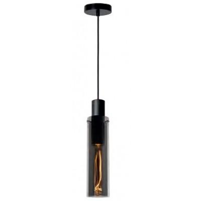 Κρεμαστό μονόφωτο φωτιστικό Ø10cm με γυάλινο φιμέ κυλινδρικό σωλήνα