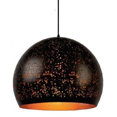 Μαύρο κρεμαστό φωτιστικό Ø50cm με οπές και χρυσό εσωτερικό