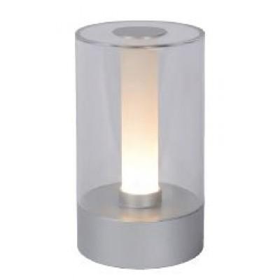 Γυάλινο πορτατίφ LED επαναφορτιζόμενο Ø9x16cm με μεταλλική βάση ασημί