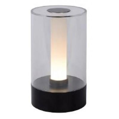 Γυάλινο πορτατίφ LED επαναφορτιζόμενο Ø9x16cm με μεταλλική βάση μαύρη