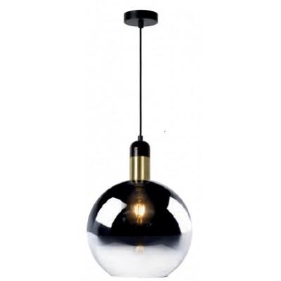 Κρεμαστό φωτιστικό Ø28cm με γυαλινη φιμέ γυάλα για μαύρο-χρυσό ντουί