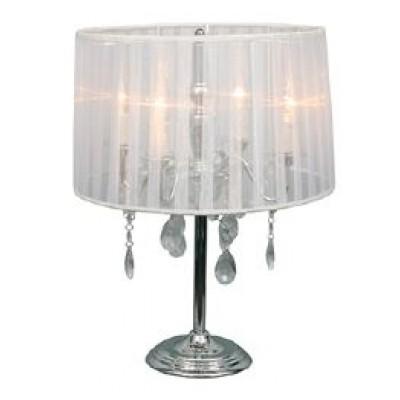 Τετράφωτο επιτραπέζιο φωτιστικό Ø38cm με διακοσμητικά κρυσταλλάκια και υφασμάτινο καπέλο σε λευκό χρώμα