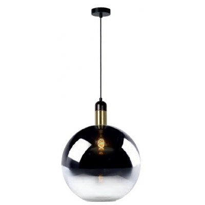 Κρεμαστό φωτιστικό Ø40cm με γυαλινη φιμέ γυάλα για μαύρο-χρυσό ντουί