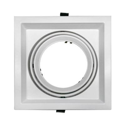 Χωνευτή Τετράγωνη Μονή Βάση για Spot AR111 Λευκή Κινούμενη σε 2 άξονες