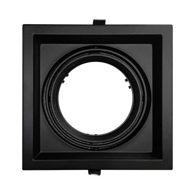 Χωνευτή Τετράγωνη Μονή Βάση για Spot AR111 Μαύρη Κινούμενη σε 2 άξονες