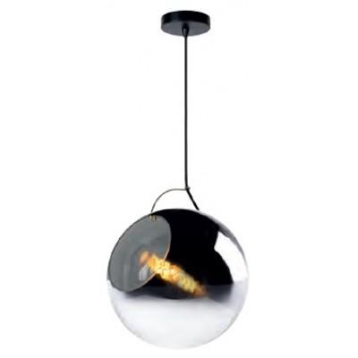 Γυάλινο κρεμαστό φωτιστικό Ø30cm με ντουί μέσα σε φιμέ γυάλα
