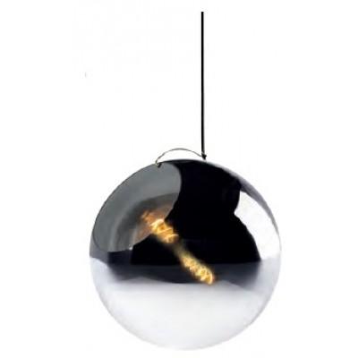 Γυάλινο κρεμαστό φωτιστικό Ø40cm με ντουί μέσα σε φιμέ γυάλα