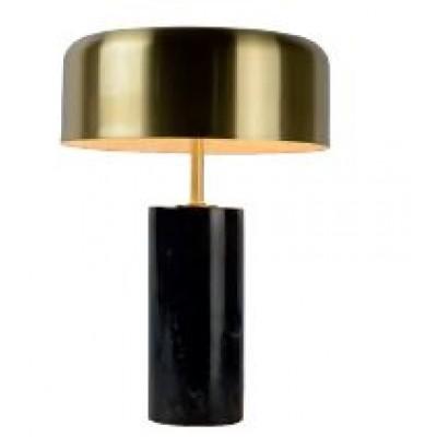 Επιτραπέζιο φωτιστικό 37cm με καπέλο από ορείχαλκο και μαύρη μαρμάρινη βάση