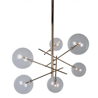 Μοντέρνο κρεμαστό εξάφωτο φωτιστικό Ø72cm χρυσό με γυάλες σφαίρες