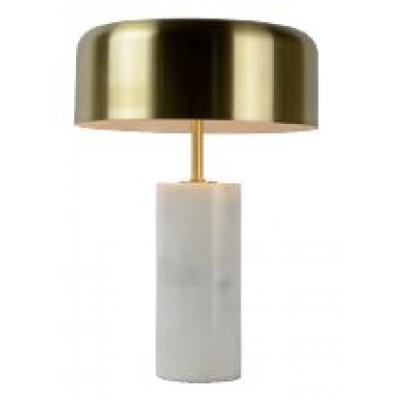 Επιτραπέζιο φωτιστικό 37cm με καπέλο από ορείχαλκο και λευκή μαρμάρινη βάση