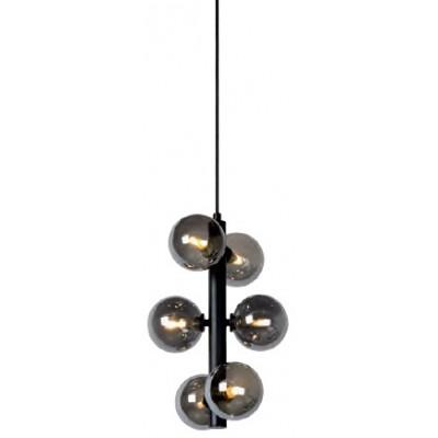 Μαύρο εξάφωτο κρεμαστό φωτιστικό Ø25cm με γυάλινες φιμέ κεφαλές