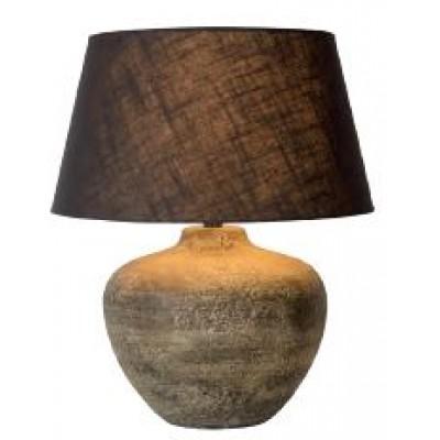 Επιτραπέζιο φωτιστικό 48cm με κεραμική βάση σε χρώμα πέτρας και υφασμάτινο καφέ καπέλο