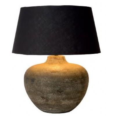 Επιτραπέζιο φωτιστικό 71cm με κεραμική βάση σε χρώμα πέτρας και υφασμάτινο μαύρο καπέλο