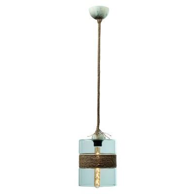 Γυάλινο κρεμαστό φωτιστικό Ø20cm με σχοινί στη μέση