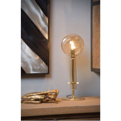 Χρυσό επιτραπέζιο φωτιστικό ύψους 35cm με γυάλινο περίβλημα