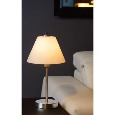 Επιτραπέζιο φωτιστικό 42cm με γαλακτερό γυάλινο κωνικό καπέλο