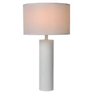 Λευκό επιτραπέζιο φωτιστικό 58cm με κυλινδρική βάση και καπέλο Ø32x20cm