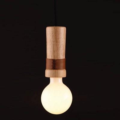 Τρίφωτο κρεμαστό ξύλινο με δέρμα Ø6cm