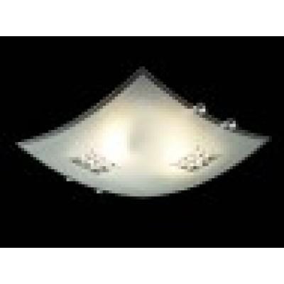Γύαλινη πλαφονιέρα οροφής 30x30cm με κρυστάλλινες λεπτομέρειες