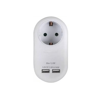 Αντάπτορας σούκο με δύο θύρες USB λευκός