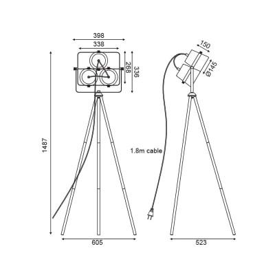 Επιδαπέδιο φωτιστικό τρίφωτο 149cm