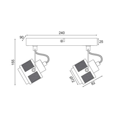 Δίφωτο σποτ οροφής μεταλλικό 28cm