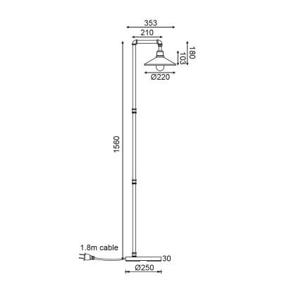 Επιδαπέδιο φωτιστικό με τριγωνική καμπάνα 156cm