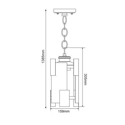 Ατσάλινο κρεμαστό φανάρι 16x16x35cm