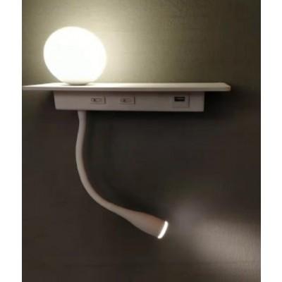 Λευκή απλίκα reading LED με USB θύρα και διπλό φωτισμό