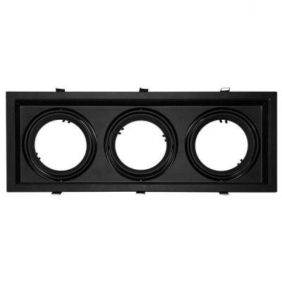 Χωνευτή τετράγωνη τριπλή βάση για spot AR111 μαύρη κινητή