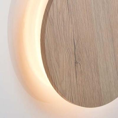 Ξύλινη απλίκα LED Ø22cm έμμεσου φωτισμού