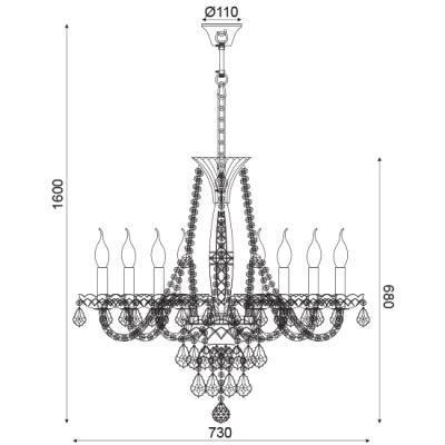 Lilium κρυστάλλινος πολυέλαιος με 8 φώτα ACA