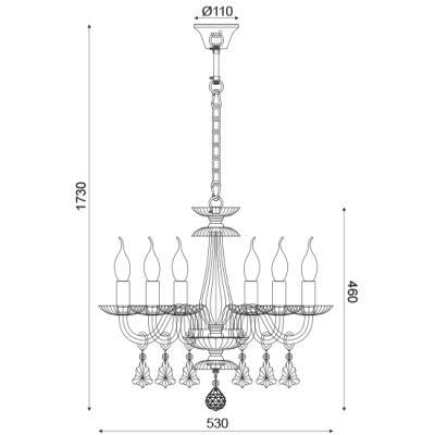 Lompelia πολυέλαιος με 6 φώτα διάφανο ACA