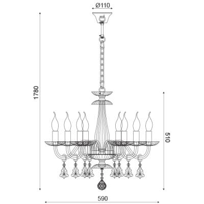 Lompelia πολυέλαιος με 8 φώτα σαμπανιζέ ACA