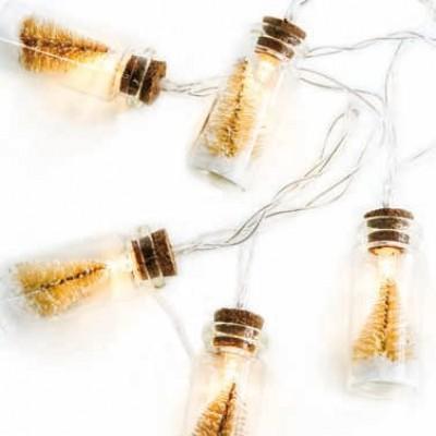 Μπουκαλάκια με λευκά δέντρα σε διάφανο καλώδιο 135cm με μπαταρίες