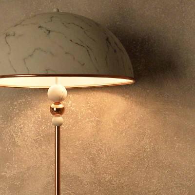 Φωτιστικό δαπέδου με κεφαλή στο χρώμα του λευκού μαρμάρου ACA