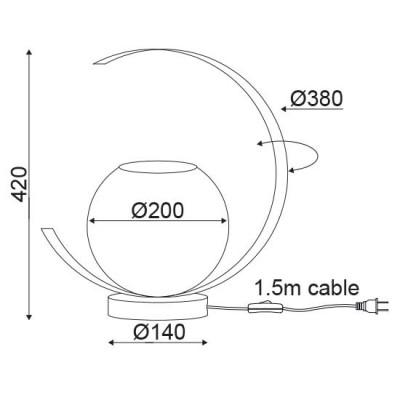 Μοντέρνο πορτατίφ με γυάλινη μπάλα και περιστρεφόμενο στεφάνι Ø38cm